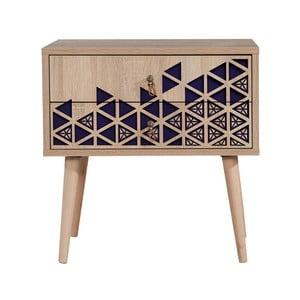 Nočný stolík s 2 zásuvkami Two Blue, 40×60 cm