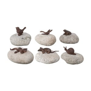 Sada 6 dekoratívnych kameňov s liatinovými zvieratkami Esschert Design Garden