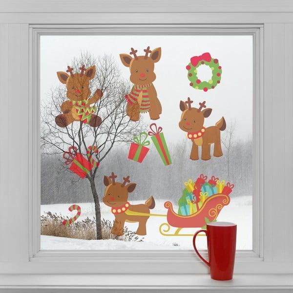 Elektrostatické vianočné samolepky Soby a darčeky