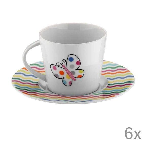Sada šálok na čaj Motýlik, 6 ks