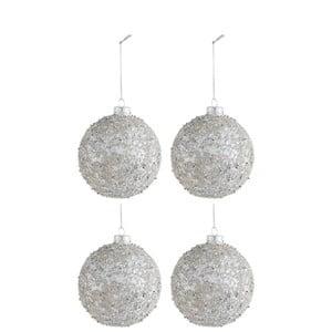 Sada 4 sklenených vianočných ozdôb J-Line Pearl, ⌀ 10 cm
