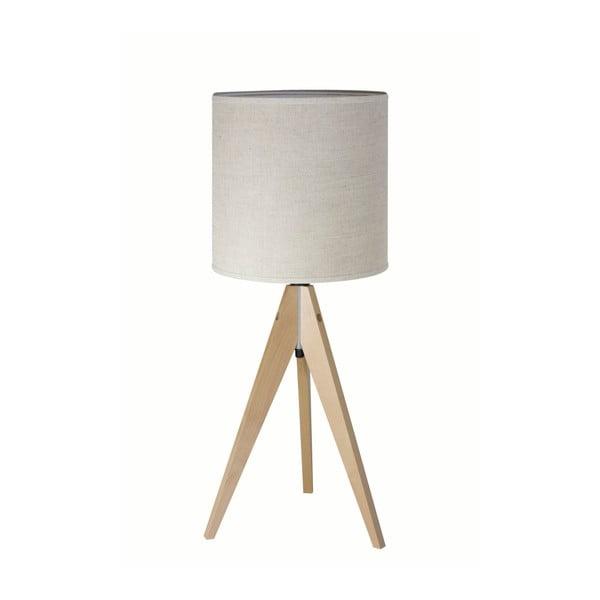 Krémová stolová lampa Artist, breza, Ø 25 cm
