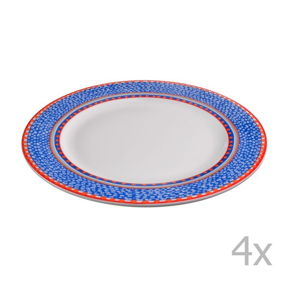 Sada 4 porcelánových tanierov Oilily 27 cm, modrá