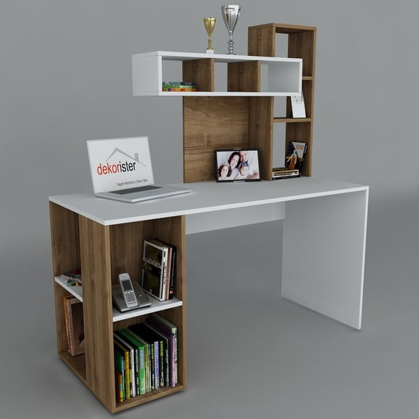 Pracovný stôl Coral White/Walnut, 60x140x153,8 cm