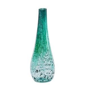 Sklenená váza Flower 50-55 cm, tyrkysová