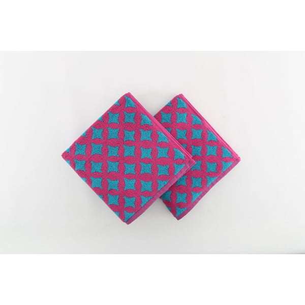 Sada 2 osušiek Crazy Vibes Fuchsie, 50x100 cm