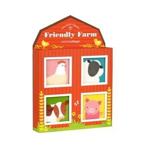 Sada 4 obrázkových knižiek Petit collage Friendly Farm