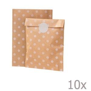Sada 10 papierových sáčkov Kraft Dot
