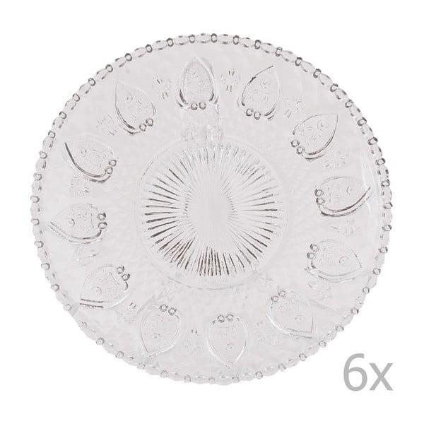 Sada 6 sklenených podnosov Clayre, 20 cm