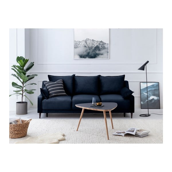 Tmavomodrá trojmiestna rozkladacia pohovka s úložným priestorom Mazzini Sofas Freesia