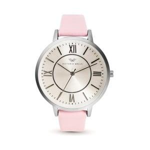 Dámske hodinky s ružovým koženým remienkom Victoria Walls Classy
