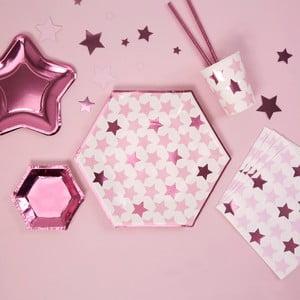 Sada 8 papierových tanierov Neviti Little Star Pink