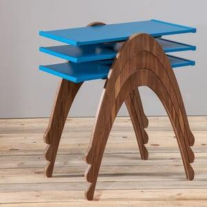 Sada 3 stolíkov Vega Nesting Blue/Walnut