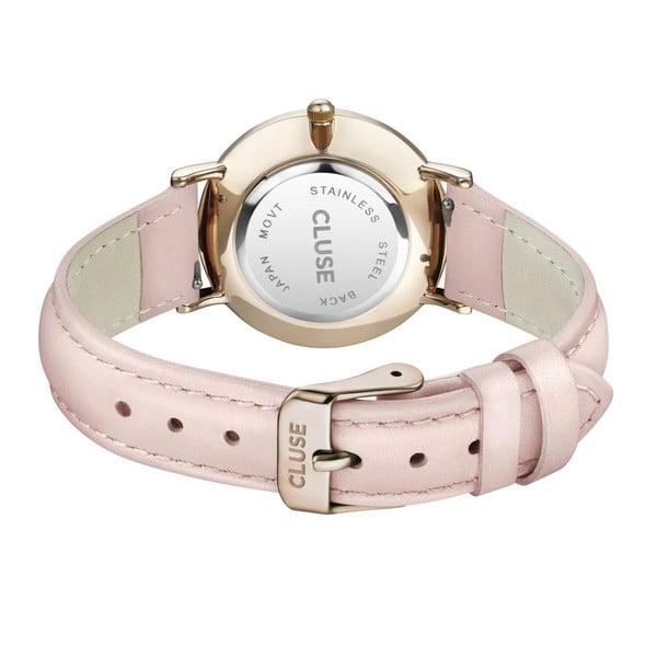 Dámske hodinky s ružovým koženým remienkom a detailmi v zlatej farbe Cluse La Minuit