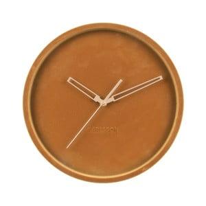 Karamelovohnedé zamatové nástenné hodiny Karlsson Lush, ø 30 cm