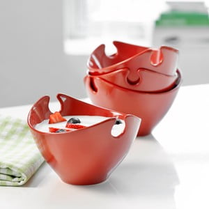 Sada 4 ks červených porcelánových misiek Steel Function Milano
