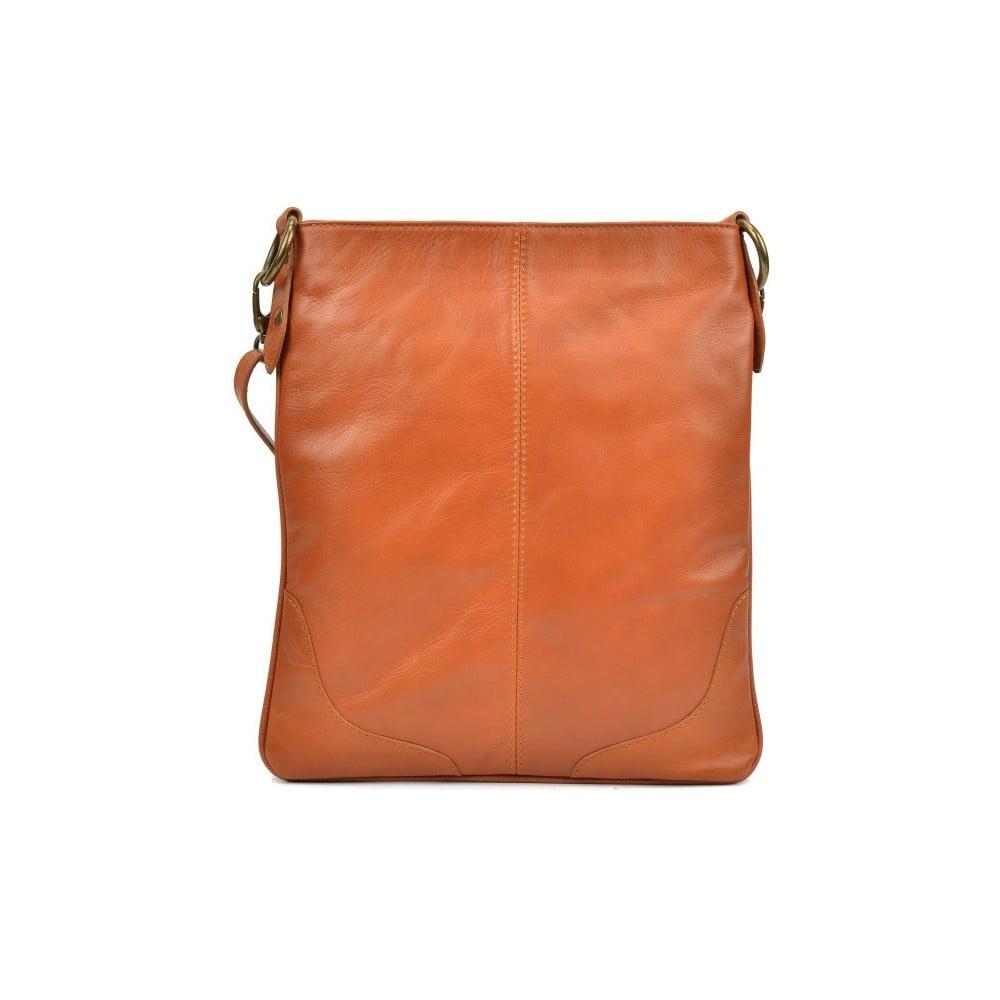 Koňakovohnedá kožená kabelka Mangotti Bags Luro