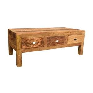 Konferenčný stolík z masívneho mangového dreva s 3 zásuvkami Massive Home Ella, dĺžka 120 cm