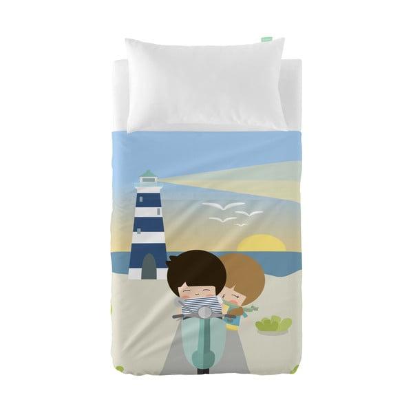 Set plachty a obliečky na vankúš z čistej bavlny Happynois Summer Time, 120×180 cm