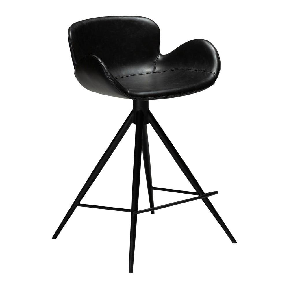 Čierna barová stolička z eko kože DAN–FORM Denmark Gaia, výška 87 cm