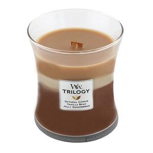Sviečka s vôňou škorice, ovsa a mandľového mlieka Woodwick Trilogy Sladkosti, doba horenia 60 hodín