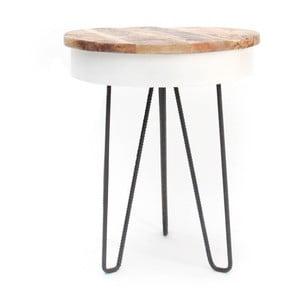 Biely príručný stolík s drevenou doskou LABEL51 Saria
