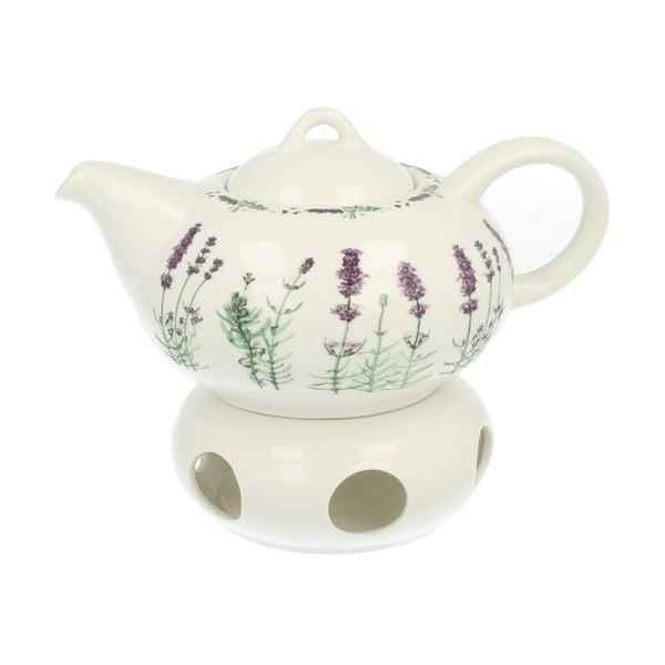 Porcelánová kanvička s ohrievačom Lavender