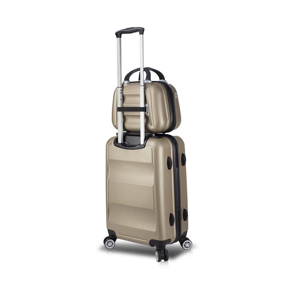 Sada zlatého cestovného kufra na kolieskach s USB portom a príručného kufríka My Valice LASSO MU & Cabin