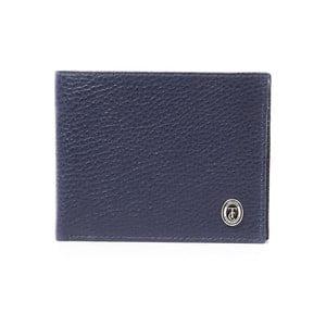Modrá pánska kožená peňaženka Trussardi Royal, 12,5 × 9,5 cm