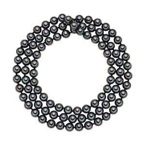 Perlový náhrdelník Muschel, antracitové perly 8 mm, dĺžka 90 cm