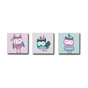 Sada 3 obrazov Mr. Little Fox Indian Owls