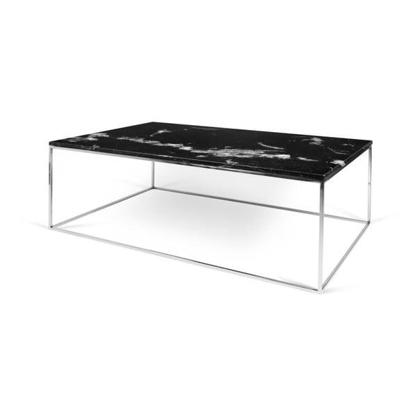 Čierny mramorový konferenčný stolík s chrómovými nohami TemaHome Gleam, 120cm
