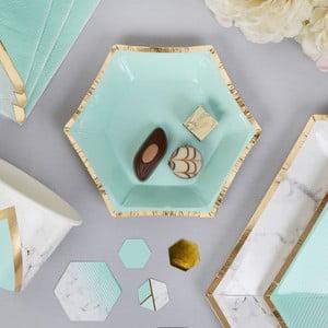 Sada 8 papierových tanierov Neviti Mint Colour Block Marble, 12,5 cm