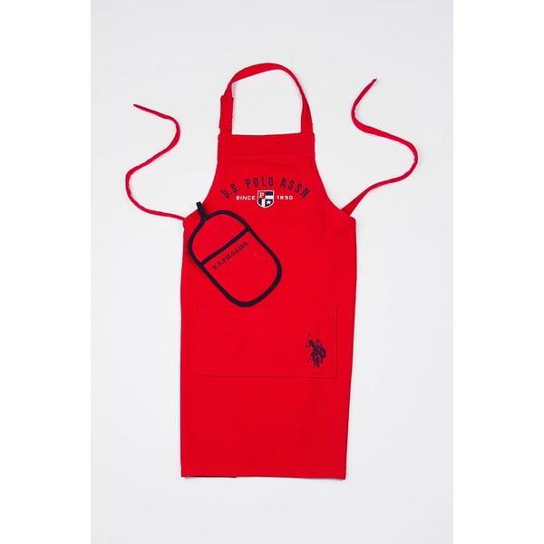 Sada kuchynskej chňapky a zástery U. S. Polo Assn. Red
