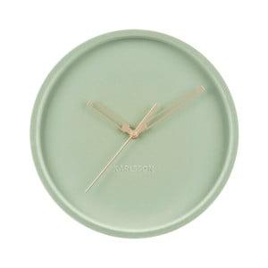 zlené zamatové nástenné hodiny Karlsson Lush, ø 30 cm