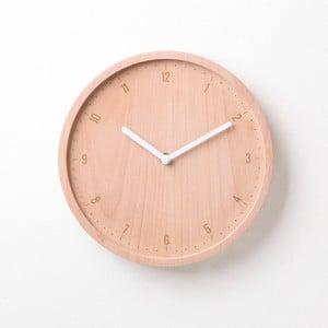 Biele hodiny z bukového dreva Qualy&CO Allday Round