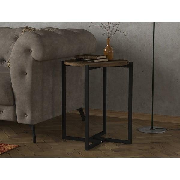 Odkladací stolík s doskou v dekore orechového dreva Noce, ⌀ 49 cm
