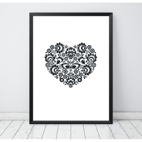 Plagát Nord & Co Floral Heart, 30 x 40 cm