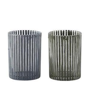 Sada 2 svietnikov KJ Collection Grey Green Glass