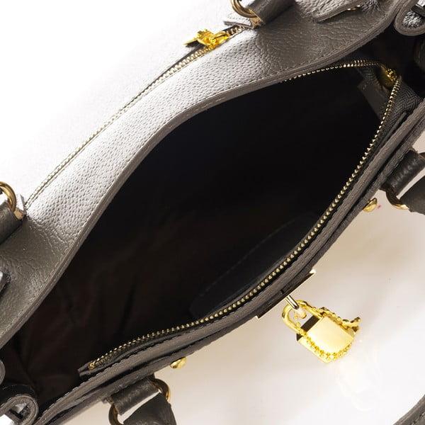 Tmavosivá kožená kabelka Giulia Massari Dollaro