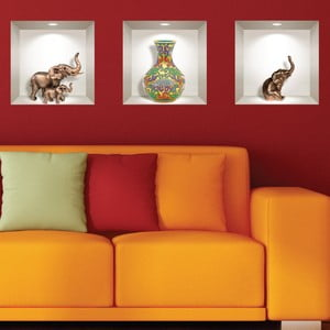 Sada 3 3D samolepiek na stenu Ambiance Elephants