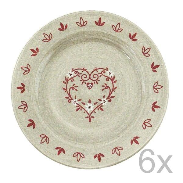 Sada keramických tanierov Heart 20 cm (6 ks)