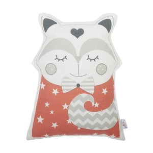 Červený detský vankúšik s prímesou bavlny Apolena Pillow Toy Smart Cat, 23 x 33 cm