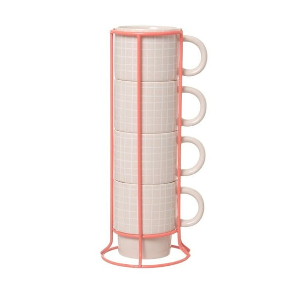 Sada 4 hrnčekov so stojančekom Cappuccino Grid Pink