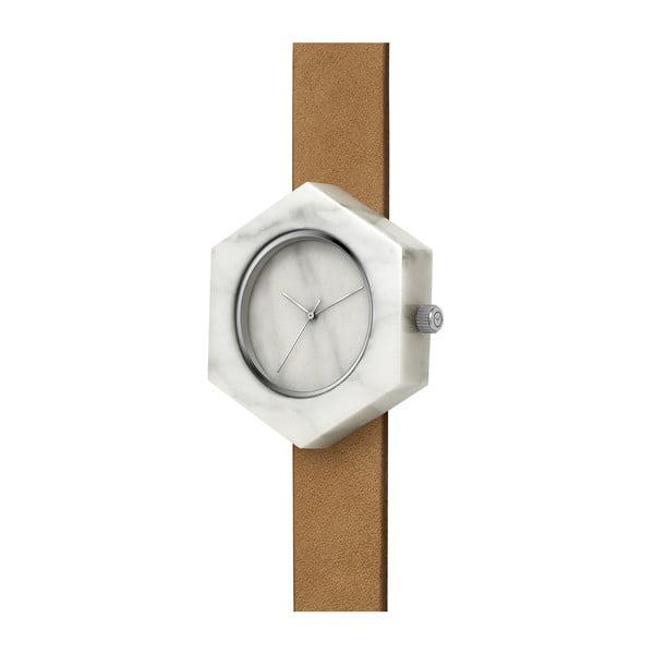 Biele hranaté mramorové hodinky s hnedým remienkom Analog Watch Co.