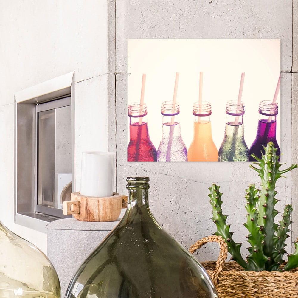 Sklenený obraz OrangeWallz Bottles, 40 x 50 cm