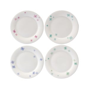 Sada 4 tanierov z kostného porcelánu Petal, 15 cm