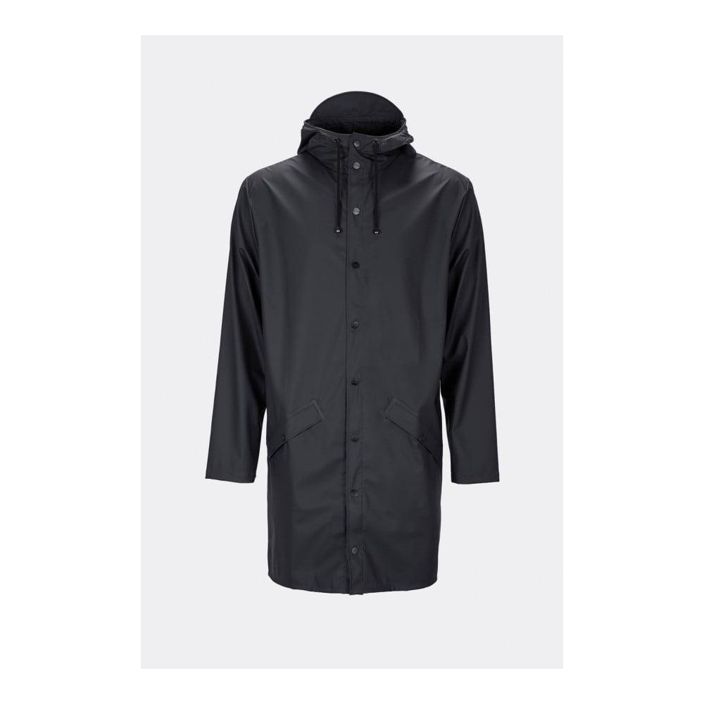 Čierna unisex bunda s vysokou vodoodolnosťou Rains Long Jacket, veľkosť XS/S