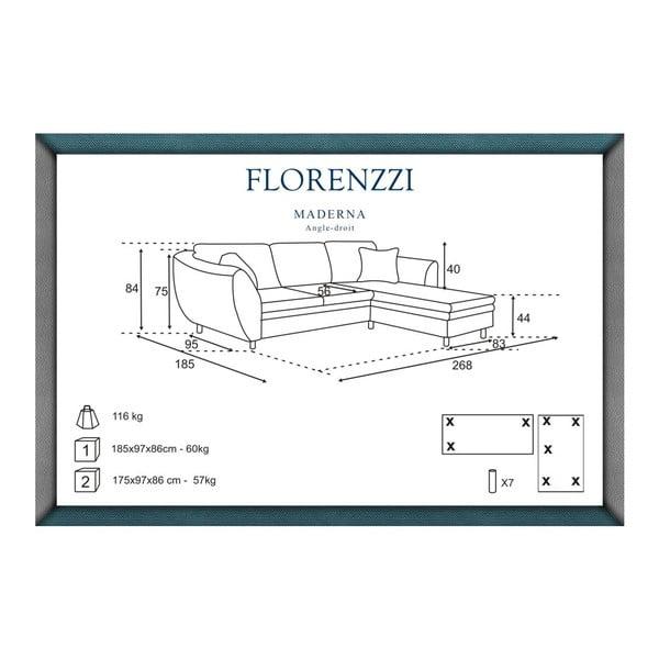 Hnedá pohovka Florenzzi Maderna s leňoškou na pravej strane