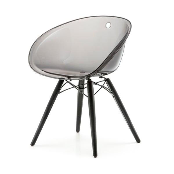 Transparentné sivá stoličky Pedrali Gliss Wood